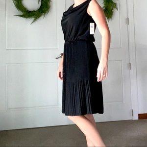 Macy's Alfani Black Pleated Dress Women's Size 4